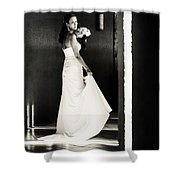 Bride I. Black And White Shower Curtain
