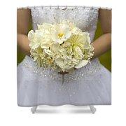 Bride With Wedding Bouquet Shower Curtain