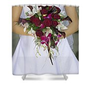 Brides Bouquet And Wedding Dress Shower Curtain