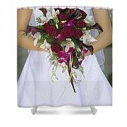 Brides Bouquet And Wedding Dress Shower Curtain