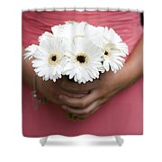 Bridesmaid Holding A Bouquet Of Berbera Shower Curtain