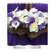 Bridesmaids With Wedding Bouquets Shower Curtain