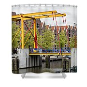 Bridge And Houses On Entrepotdok In Amsterdam Shower Curtain