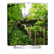 Bridge And Lush Vegetation Shower Curtain