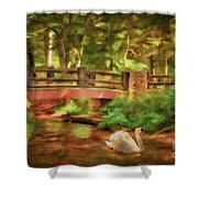 Bridge And Swan Shower Curtain