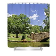Bridge At A Park In The Summer Shower Curtain