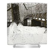 Bridge At Old Mine Park Shower Curtain