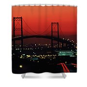 Bridge At Sunset Shower Curtain