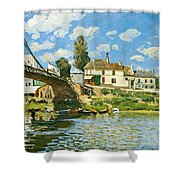 Bridge At Villeneuve-la-garenne Shower Curtain by Alfred Sisley