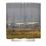 Bridge Building Shower Curtain by Bill Gallagher