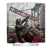 Bridge Construction 1909 Shower Curtain