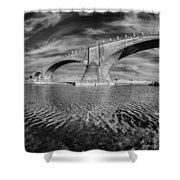 Bridge Curvature In Black And White Shower Curtain