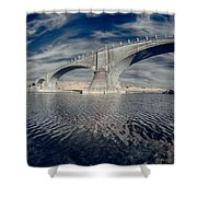 Bridge Curvature In Color Shower Curtain