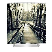 Bridge In The Wood Shower Curtain