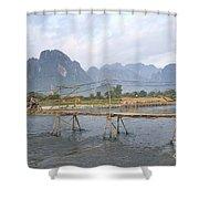 Bridge In Vang Vieng Laos Shower Curtain