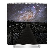 Bridge On A Distant Planet Shower Curtain