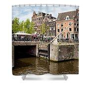 Bridge On Singel Canal In Amsterdam Shower Curtain