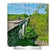 Bridge Over Birdsong Hollow At Mile 438 Of Natchez Trace Parkway-tennessee Shower Curtain