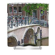 Bridge Over Canal With Bicycles  In Amsterdam Shower Curtain