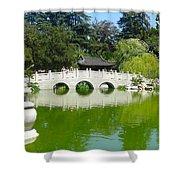Bridge Over Emerald Water Shower Curtain
