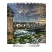 Bridge Over Icey Waters Shower Curtain