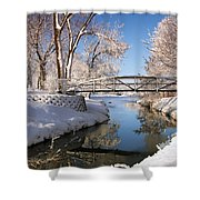 Bridge Over Icy Water Shower Curtain