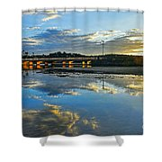 Bridge Over Lake At Sunset Narrabeen Lakes Sydney Shower Curtain