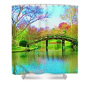 Bridge Over Lake In Spring Shower Curtain
