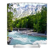 Bridge Over Mcdonald Creek In Glacier Np-mt Shower Curtain