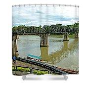Bridge Over River Kwai In Kanchanaburi-thailand Shower Curtain