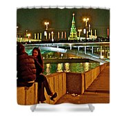 Bridge Over River Near The Kremlin At Night In Moscow-russia Shower Curtain