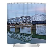 Bridge Over Tranquil Waters In Kamloops British Columbia Shower Curtain by Steve Boyko