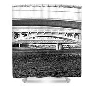 Bridge Panorama Black And White Shower Curtain