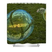 Bridge Reflections In The Bubbles Shower Curtain