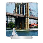 Bridge - Sailboat By The Brooklyn Bridge Shower Curtain