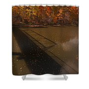 Bridge Shadow In Autumn On The  Duck River Tennessee Fine Art Prints As Gift For The Holidays  Shower Curtain