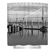 Bridge To Mount Pleasant - Black And White Shower Curtain