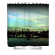 Bridge With White Clouds Vignette Shower Curtain