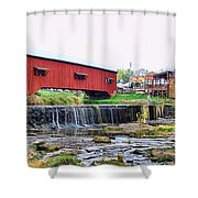 Bridgeton Mill And Covered Bridge Shower Curtain