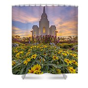 Brigham City Temple Vertical Panorama Shower Curtain