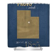 Brigham Young University Cougars Provo Utah College Town State Map Poster Series No 023 Shower Curtain