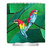 Brighly Colored European Bee-eaters Shower Curtain