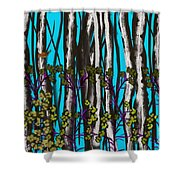 Bright Blue And Birch Shower Curtain
