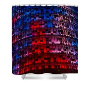 Bright Blue Red And Pink Illumination - Agbar Tower Barcelona Shower Curtain