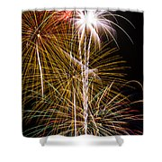 Bright Bursts Of Fireworks Shower Curtain