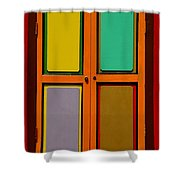 Bright Colorful Window Shutters With Four Panels Shower Curtain