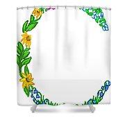 Bright Fun Colorful Hand Drawn Monogram C Shower Curtain