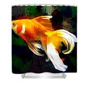 Bright Golden Fish In Dark Pond Shower Curtain