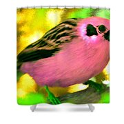 Bright Pink Finch Shower Curtain