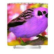Bright Purple Finch Shower Curtain